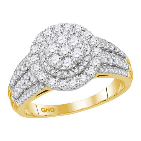 14kt Yellow Gold Womens Round Diamond Concentric Circle Cluster Bridal Wedding Engagement Ring 1.00 Cttw