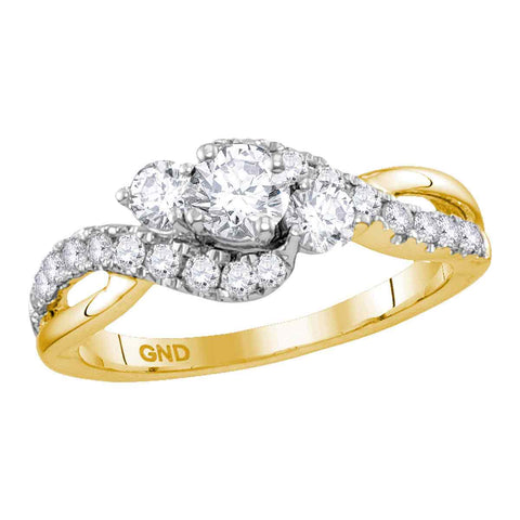 14kt Yellow Gold Womens Round Diamond 3-stone Bridal Wedding Engagement Ring 7/8 Cttw (Certified)