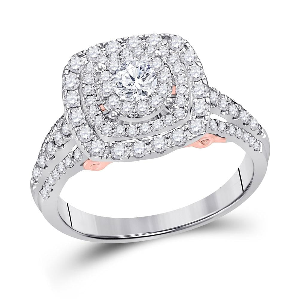 14kt White Gold Womens Round Diamond Solitaire Triple Halo Bridal Wedding Engagement Ring 1.00 Cttw