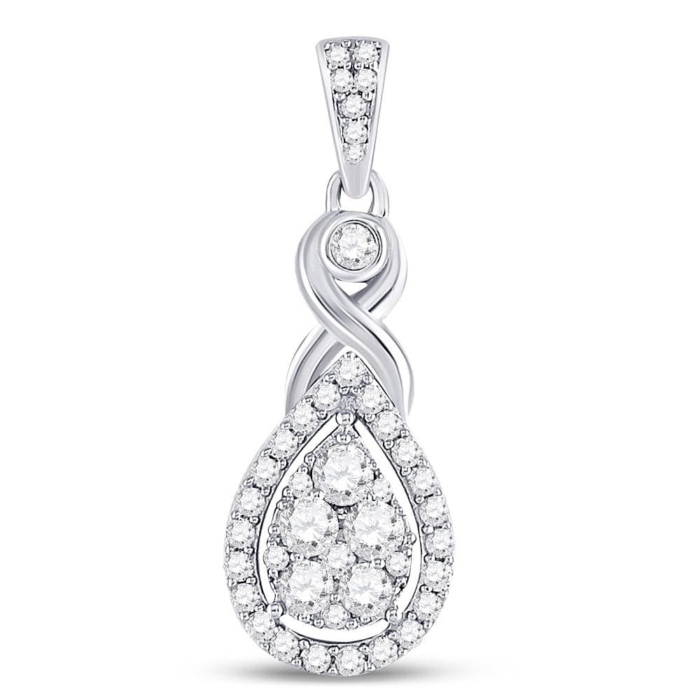 10kt White Gold Womens Round Diamond Cluster Pendant 1/2 Cttw