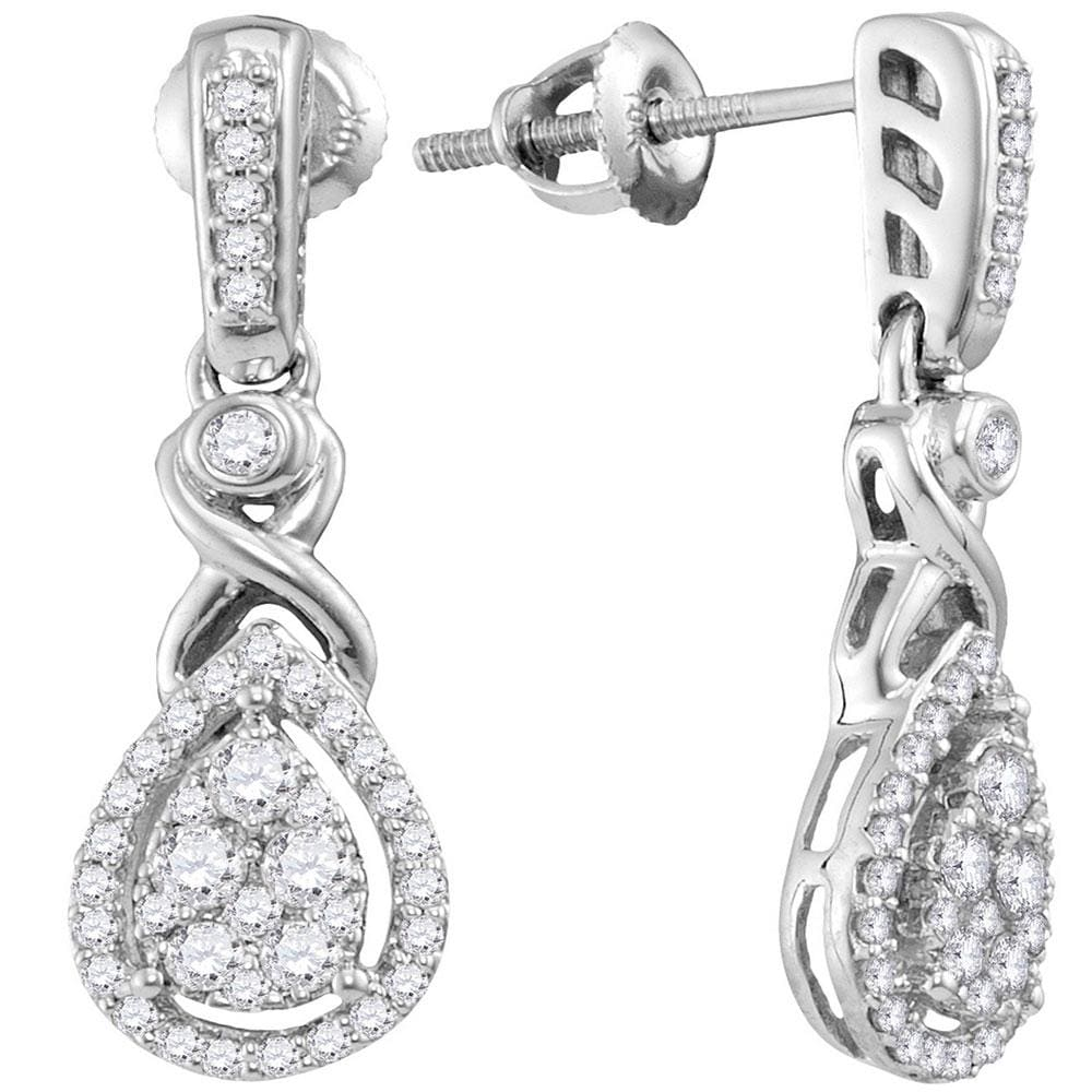 10kt White Gold Womens Round Diamond Teardrop Cluster Dangle Earrings 1/2 Cttw