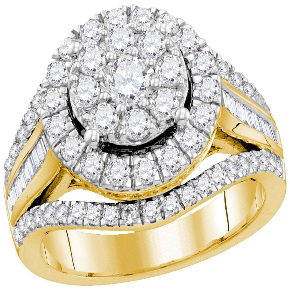10kt Yellow Gold Womens Round Diamond Cluster Bridal Wedding Engagement Ring 2.00 Cttw (Certified)