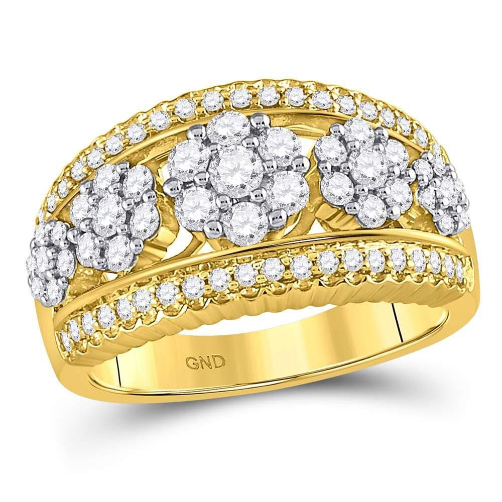 10kt Yellow Gold Womens Round Diamond Symmetrical Flower Cluster Ring 1.00 Cttw