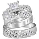 14kt White Gold His & Hers Princess Diamond Cluster Matching Bridal Wedding Ring Band Set 7/8 Cttw