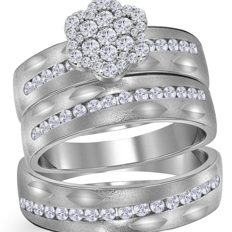 14kt White Gold His & Hers Round Diamond Matching Bridal Wedding Ring Band Set 3/4 Cttw