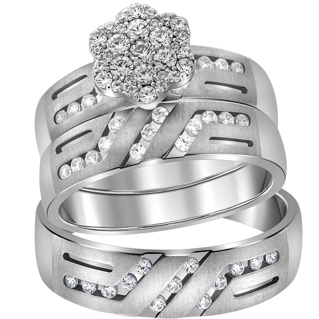 14kt White Gold His & Hers Round Diamond Cluster Matching Bridal Wedding Ring Band Set 5/8 Cttw