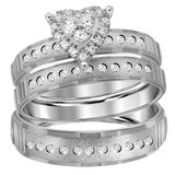 14kt White Gold His & Hers Round Diamond Heart Matching Bridal Wedding Ring Band Set 1/3 Cttw