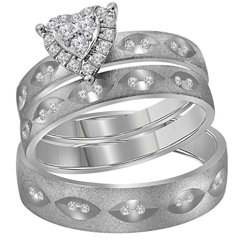 14kt White Gold His & Hers Round Diamond Heart Matching Bridal Wedding Ring Band Set 1/4 Cttw