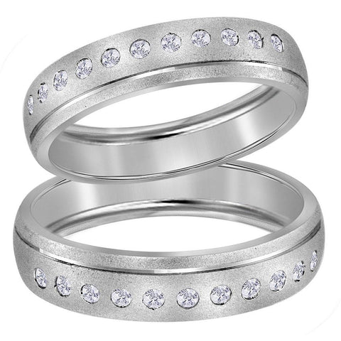 14kt White Gold His & Hers Round Diamond Matching Wedding Band Set 1/4 Cttw