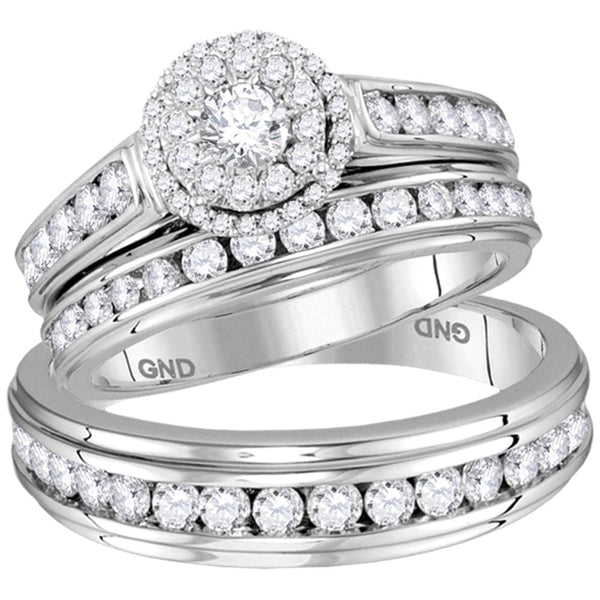 14kt White Gold His & Hers Round Diamond Solitaire Matching Bridal Wedding Ring Band Trio Set 1.62 Cttw