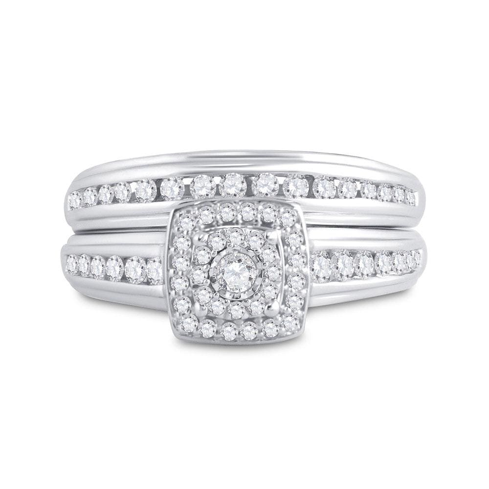 14kt White Gold His Hers Round Diamond Solitaire Matching Wedding Set 7/8 Cttw