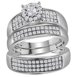14kt White Gold His Hers Round Diamond Halo Matching Wedding Set 7/8 Cttw
