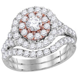 14kt White Gold Womens Round Diamond Double Halo Bridal Wedding Engagement Ring Band Set 2-1/3 Cttw