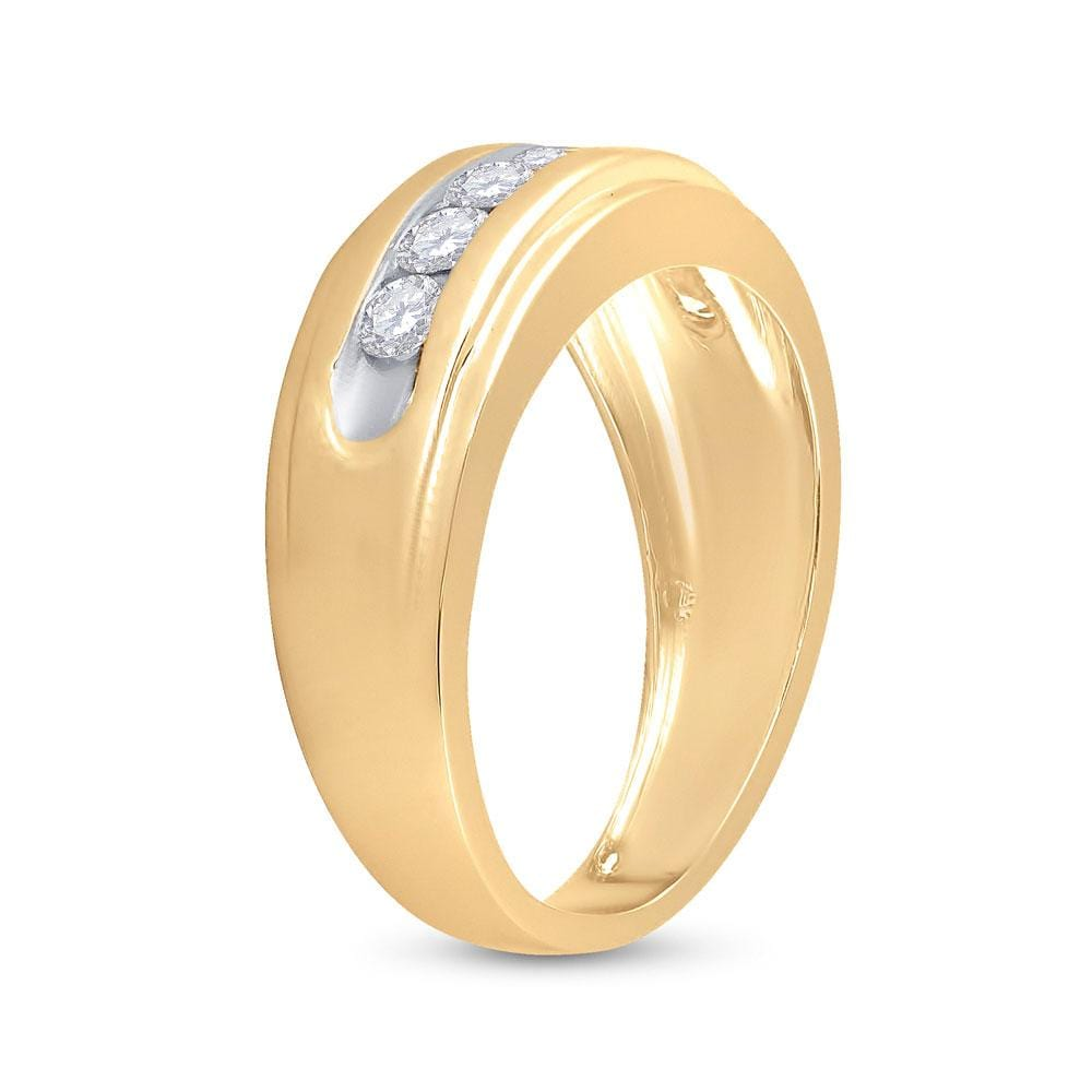 10kt Yellow Gold Mens Round Diamond Wedding Channel-Set Band Ring 7/8 Cttw