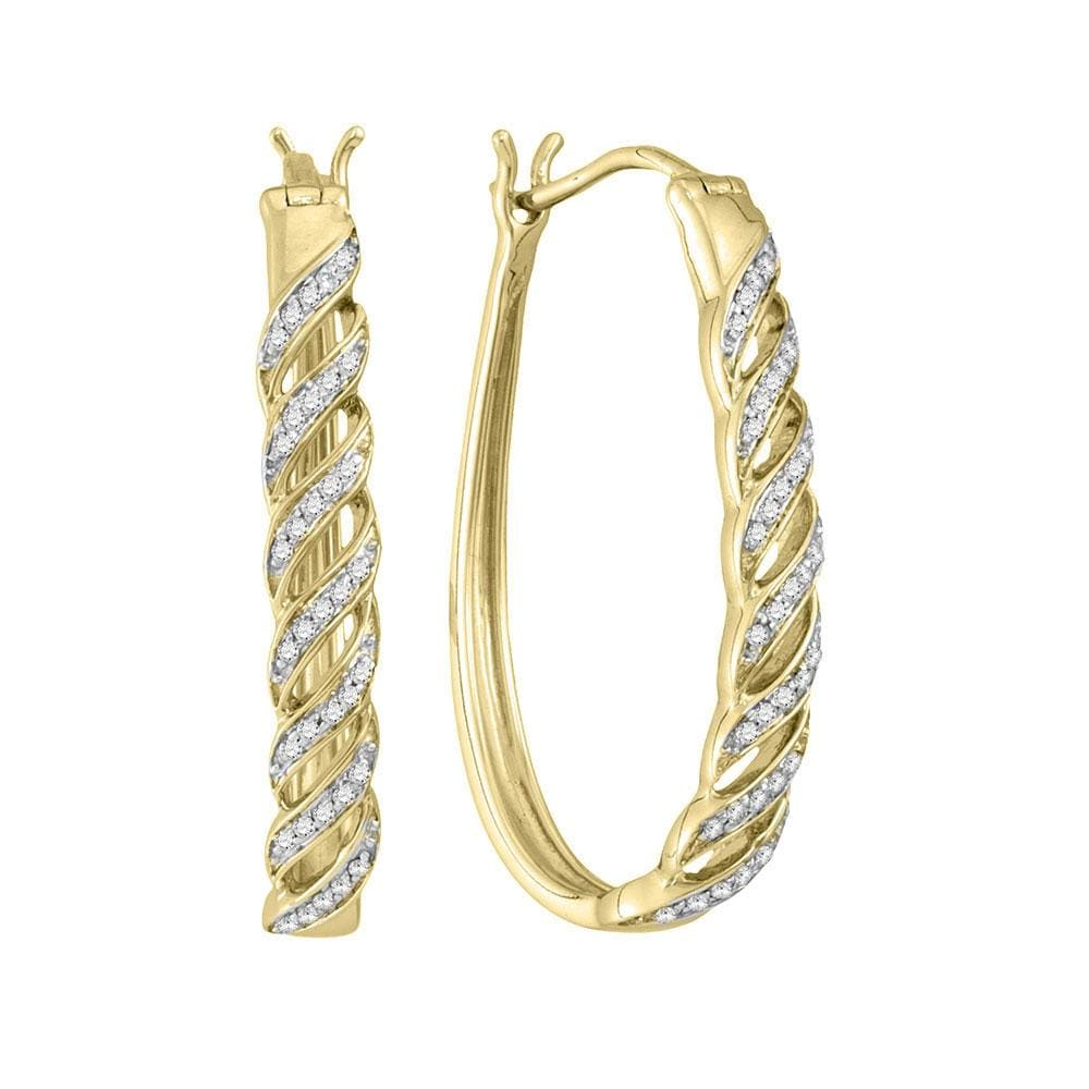 10kt Yellow Gold Womens Round Diamond Oblong Hoop Earrings 1/5 Cttw