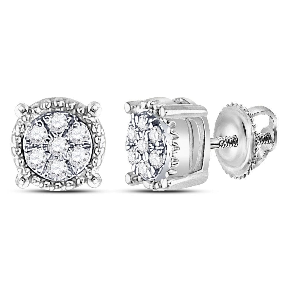 10kt White Gold Womens Round Diamond Flower Cluster Milgrain Stud Earrings 1/10 Cttw