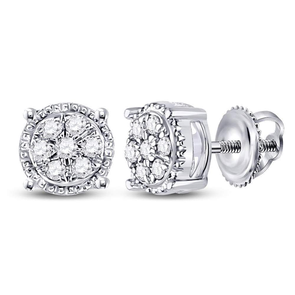 10kt White Gold Womens Round Diamond Flower Cluster Stud Earrings 1/6 Cttw