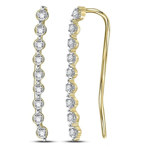 10kt Yellow Gold Womens Round Diamond Climber Earrings 1/20 Cttw