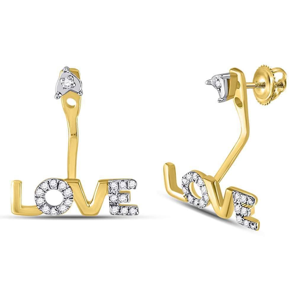10kt Yellow Gold Womens Round Diamond Love Stud Jacket Earrings 1/10 Cttw
