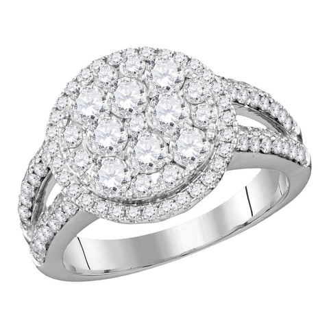 14kt White Gold Womens Round Diamond Cluster Bridal Wedding Engagement Ring 1-3/4 Cttw