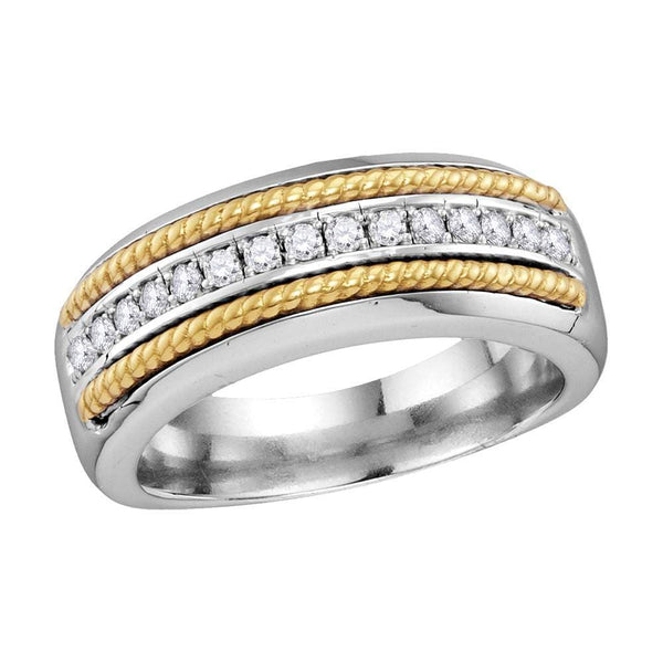 10kt White Gold Mens Round Pave-set Diamond Yellow-tone Rope Wedding Band 1/3 Cttw