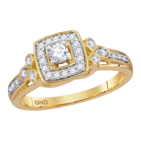 10kt Yellow Gold Womens Round Diamond Round Halo Bridal Wedding Engagement Ring 1/3 Cttw