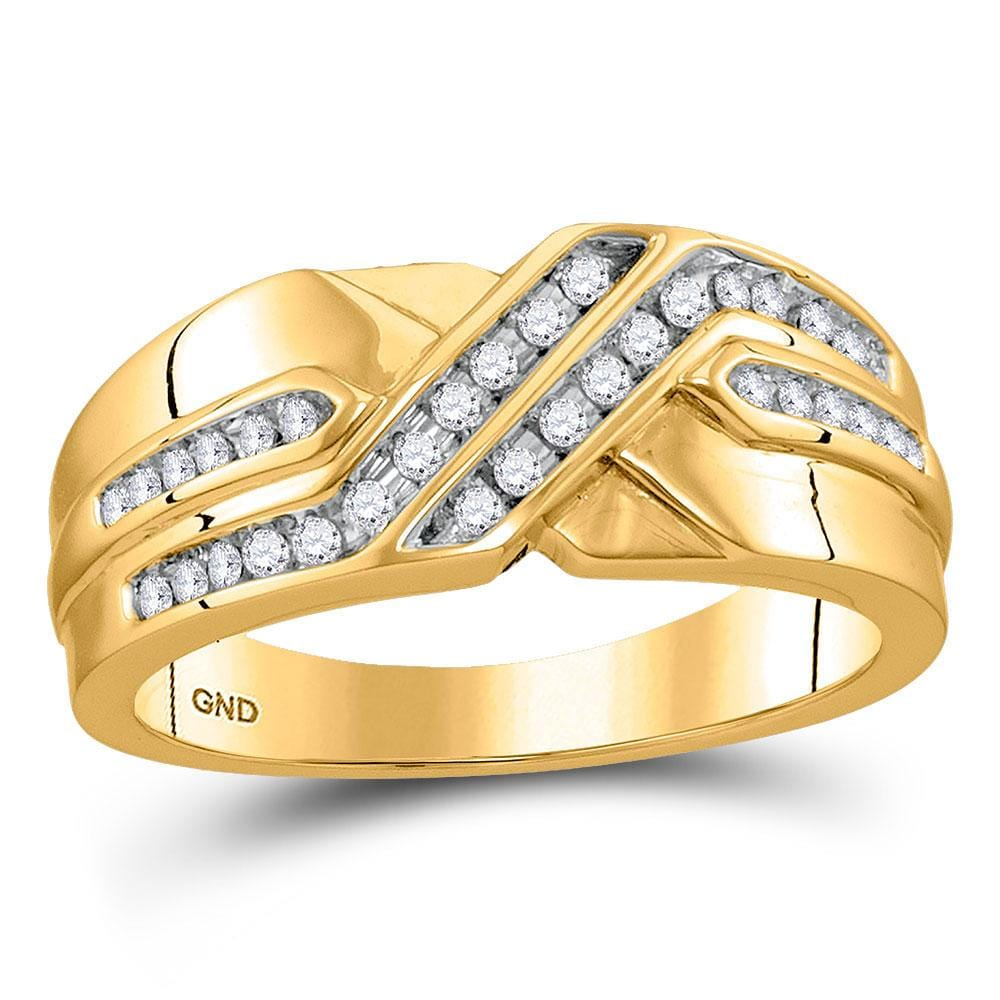 10kt Yellow Gold Mens Round Diamond Diagonal Double Row Band Ring 1/4 Cttw