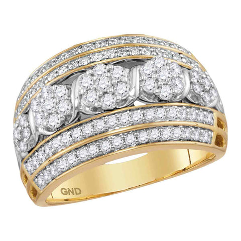 14kt Yellow Gold Womens Round Diamond Flower Cluster Fashion Band Ring 1.00 Cttw