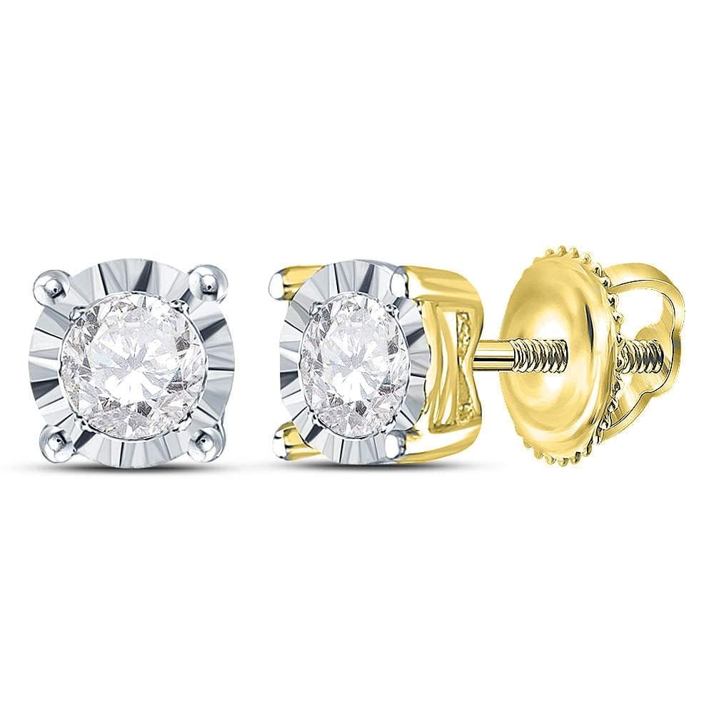 10kt Yellow Gold Womens Round Diamond Solitaire Stud Earrings 1/3 Cttw