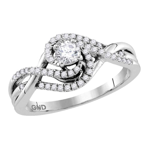14kt White Gold Womens Round Diamond Solitaire Swirl Crossover Bridal Wedding Engagement Ring 1/2 Cttw