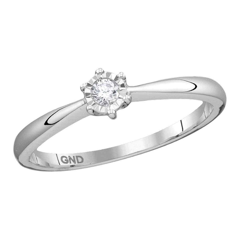 10kt White Gold Womens Round Diamond Solitaire Bridal Wedding Engagement Ring 1/12 Cttw