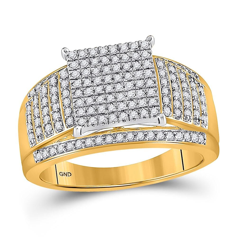 10kt Yellow Gold Womens Round Diamond Elevated Square Cluster Ring 1/2 Cttw