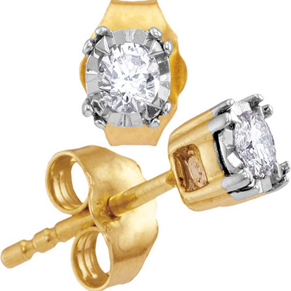 10kt Yellow Gold Womens Round Diamond Solitaire Stud Earrings 1/6 Cttw