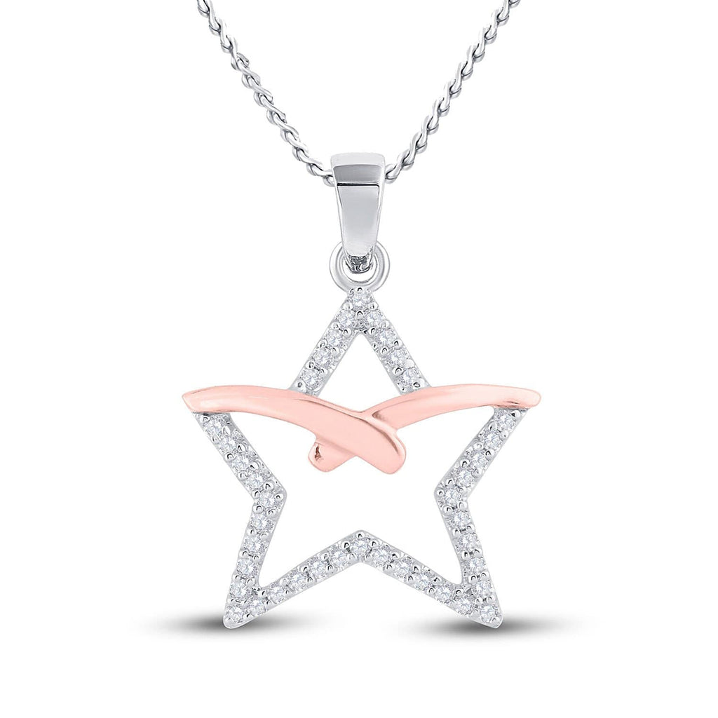 10kt Two-tone Gold Womens Round Diamond Star Pendant 1/6 Cttw