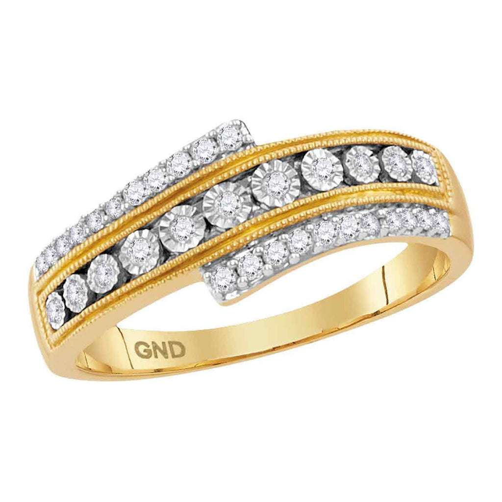10kt Yellow Gold Womens Round Diamond Crossover Milgrain Illusion-set Band 1/5 Cttw