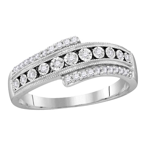 10kt White Gold Womens Round Diamond Crossover Milgrain Illusion-set Band 1/5 Cttw