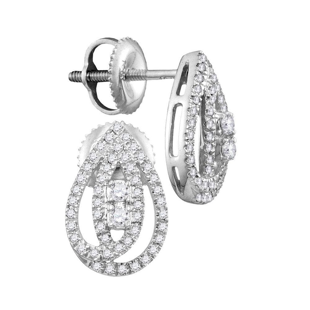 10kt White Gold Womens Round Diamond Teardrop Earrings 1/4 Cttw