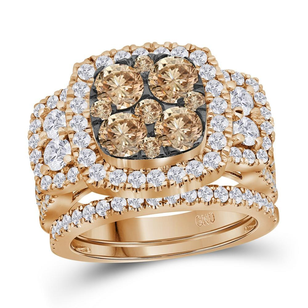 14kt Rose Gold Womens Round Brown Diamond Cluster Bridal Wedding Engagement Ring Band Set 3.00 Cttw