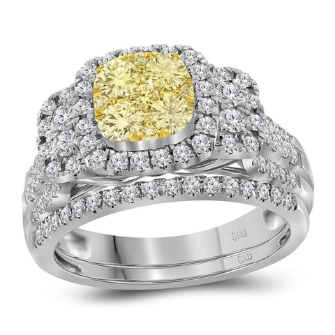 14kt White Gold Womens Round Yellow Diamond Bridal Halo Wedding Engagement Ring Band Set 1.00 Cttw