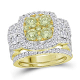 14kt Yellow Gold Womens Round Yellow Diamond Bridal Wedding Engagement Ring Band Set 3.00 Cttw