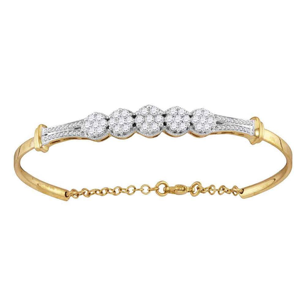 10kt Yellow Gold Womens Round Diamond Cluster Promise Bangle Bracelet 1 Cttw
