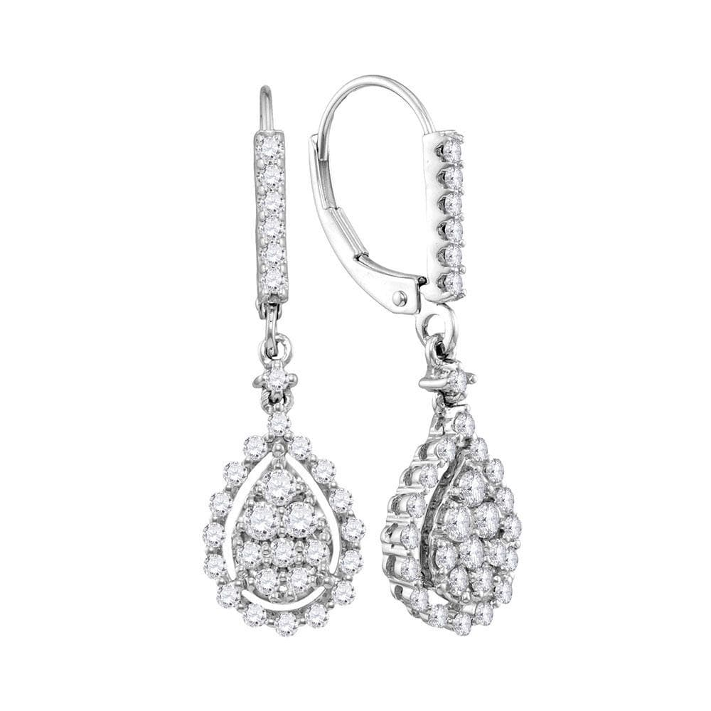 14kt White Gold Womens Round Diamond Teardrop Frame Cluster Dangle Earrings 7/8 Cttw