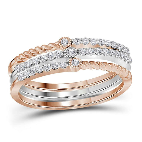10kt Two-tone White Rose Gold Womens Round Diamond Stackable Bands Set 1/4 Cttw