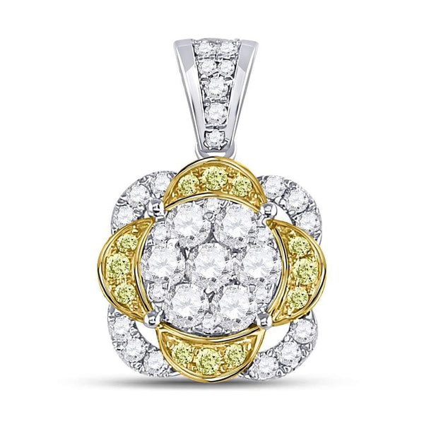 14kt White Gold Womens Round Yellow Diamond Flower Cluster Pendant 1.00 Cttw