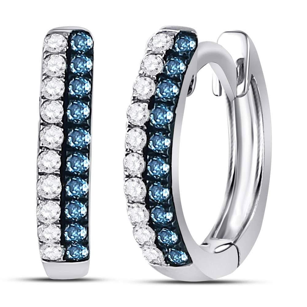 10kt White Gold Womens Round Blue Color Enhanced Diamond Huggie Earrings 1/5 Cttw