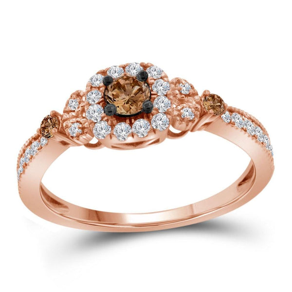 10kt Rose Gold Womens Round Brown Color Enhanced Diamond Solitaire Ring 1/2 Cttw