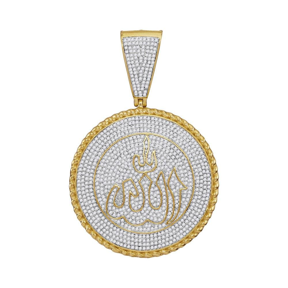 10kt Yellow Gold Mens Round Diamond Allah Medallion Charm Pendant 2-1/4 Cttw