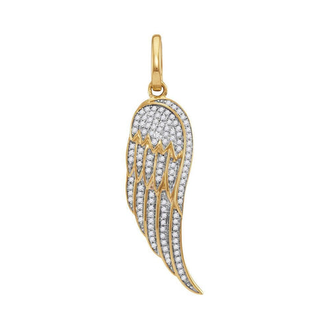 10kt Yellow Gold Mens Round Diamond Feather Wing Cluster Charm Pendant 1/3 Cttw
