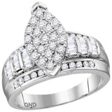 Sterling Silver Womens Round Diamond Oval Cluster Bridal Wedding Engagement Ring 1.00 Cttw