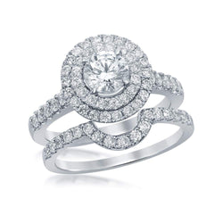 14k White Gold Womens Certified Round Diamond Double Halo Bridal Wedding Engagement Ring Set 1-3/4 Cttw